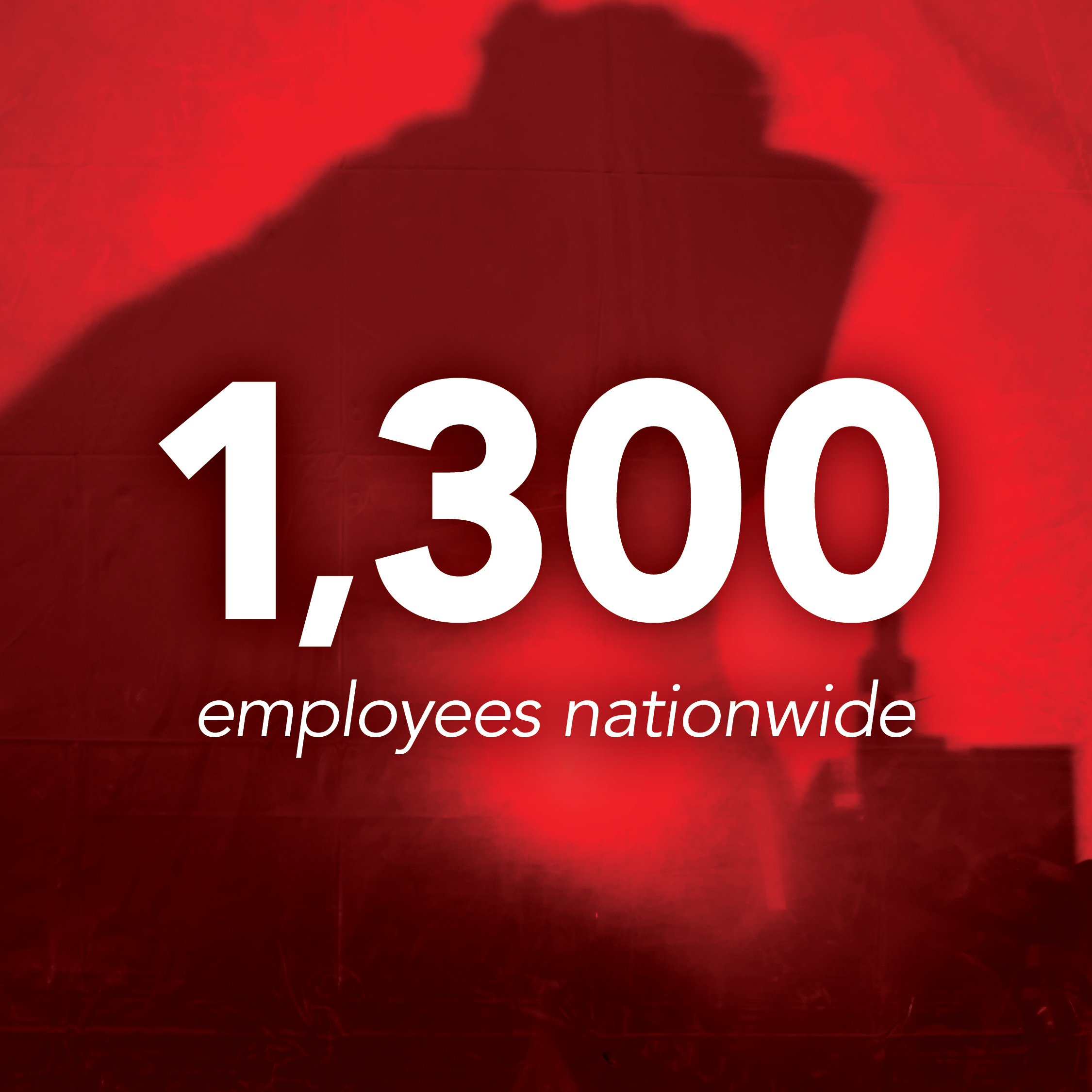 1,300 employees nationwide